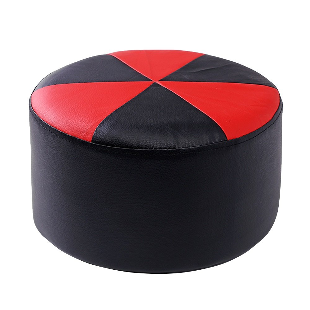 Xin-stool Leather sofa stool/Multifunctional footstool/European shoe bench/low stool/Stylish stool/Sofa Stool/Coffee Table Stool/Bed stool Fashion dressing stool/2715cm (Color : Black Red)