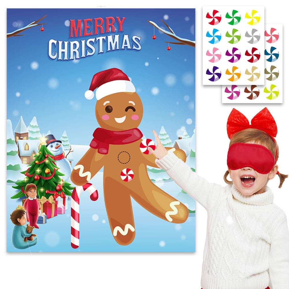 Funnlot Christmas Party Games Pin the Button on the Gingerbread Man Xmas Birthday Supplies Favors for Kids Christmas Pin Game for Classroom Children Toddlers Xmas Party Activities