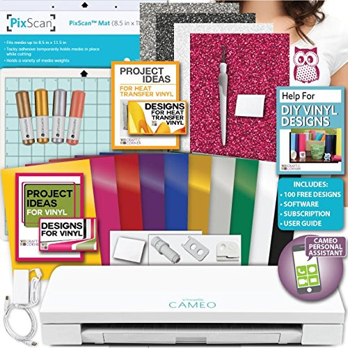 Silhouette America Cameo 3 Machine Bundle Vinyl, Transfer Paper, Tools, PixScan Mat, Sketch Pens, 24 Designs by Silhouette
