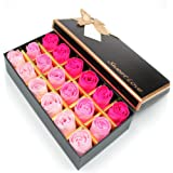 MyLifeUNIT Preserved Rose Scented Bath Soap Rose in Gift Box, 18PCS (Red)
