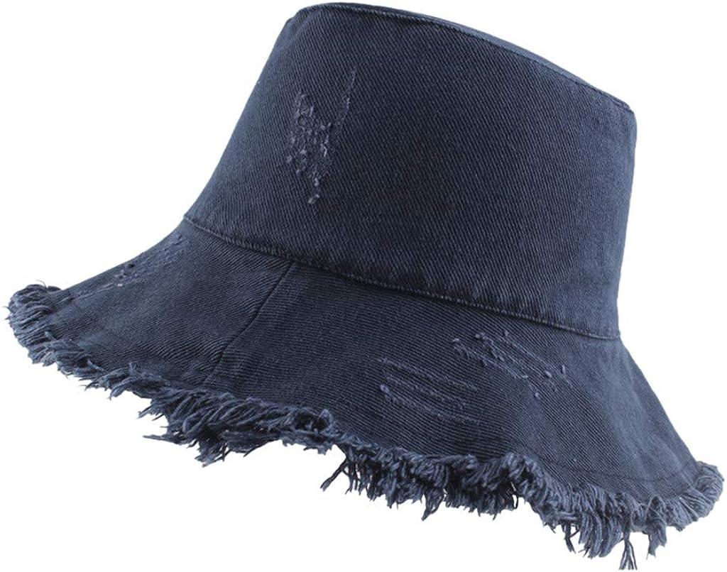 Unisex Frayed Washed Bucket Hat Foldable Hat MEANIT Fisherman Cap Brim Visors Sun Hat