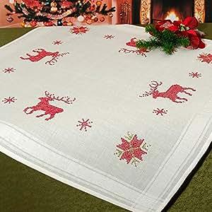 """Punto de mágica """"renos navideños"""" - Kit de punto de 80 cm x 80 cm - de cruz para mantel - Hilo de 100% algodón - listo hilo - gran calidad - de cruz para-mantel - Centro de 80 x 80 - flores - de la KAMACA-SHOP - Advent Invierno Navidad"""