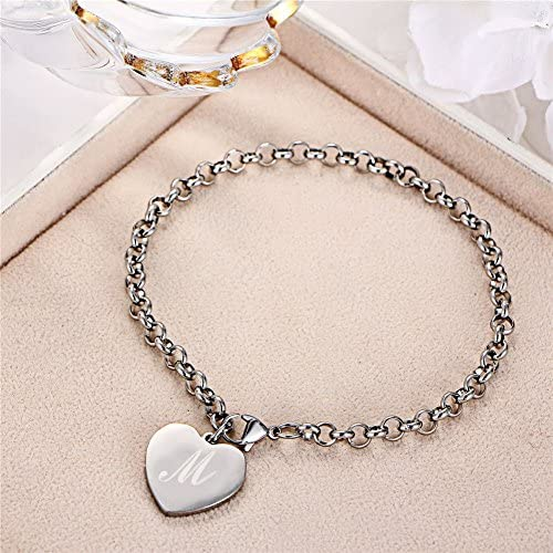 LiFashion LF 316L Stainless Steel Personalized Name Date Custom Rolo Chain Initial Engraved Heart Tag Footchain Adjustable Anklet for Womens Girls Summer Vacation Beach,Free Engraving Customized