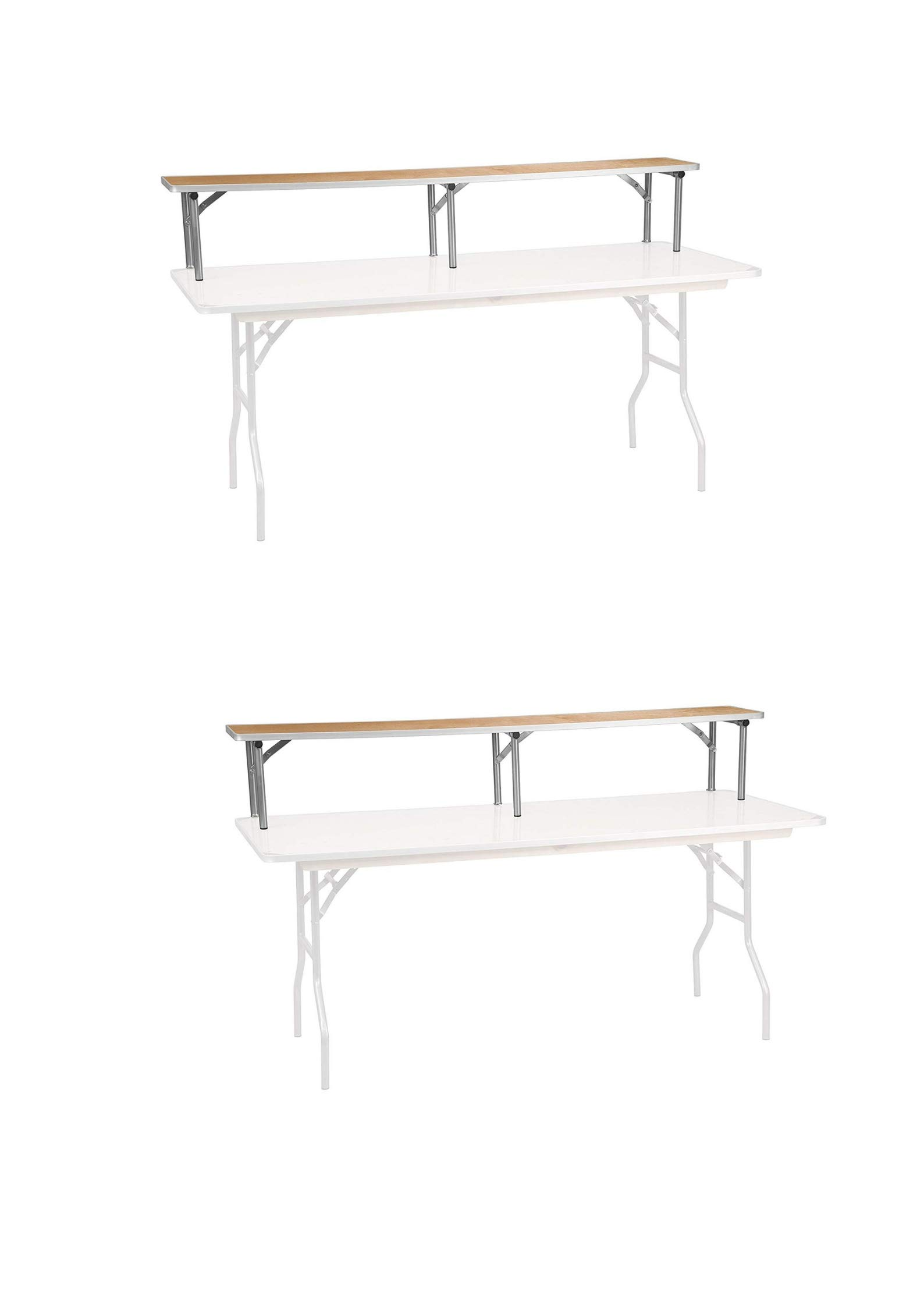 Flash Furniture 72'' x 12'' x 12'' Birchwood Bar Top Riser with Silver Legs (2 Pack, Brown 72'' W x 11.75'' D x 12'' H) by Flash Furniture (Image #1)
