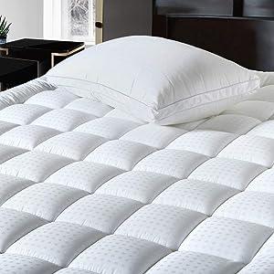 BALICHUN Pillowtop King Mattress Pad Cover 300TC 100% Cotton Down Alternative Filled Mattress Topper with 8-21-Inch Deep Pocket (White,King)