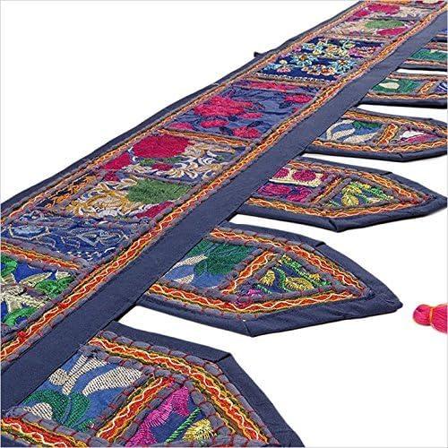 Sophia-Art Cenefa de Ventana /étnica India Decorativa de Navidad Decoraci/ón para el hogar Bandhanwar Toran Vintage Patchwork Bordado Puerta Colgante Blue, 78 x 13 Big Valance