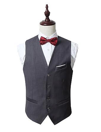 Lilis Mens Top Designed Casual Slim Fit 4Button Business Dress Vest Waistcoat