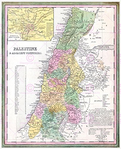 - MAP ANTIQUE 1836 TANNER PALESTINE HISTORIC LARGE REPLICA POSTER PRINT PAM0299