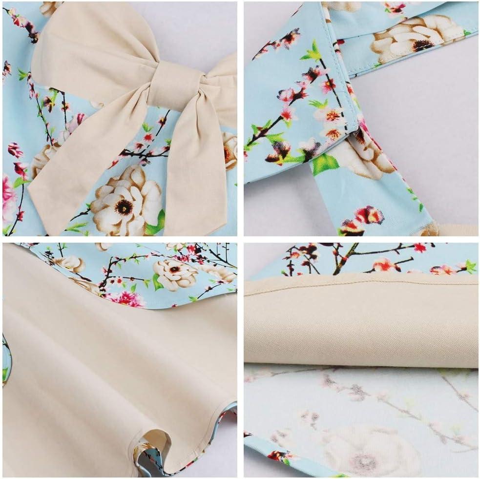 HZD Summer Vintage Dress Patchwork Sleeveless A Line Party Dress Bowknot V Neck Painting Vintage Dresses 1