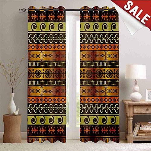 Zambia Window Curtain Drape Ethnic Ornamental Abstract Heritage Traditional Ceremony Ritual Image Customized Curtains W96 x L96 Inch Gold Dark Brown Orange