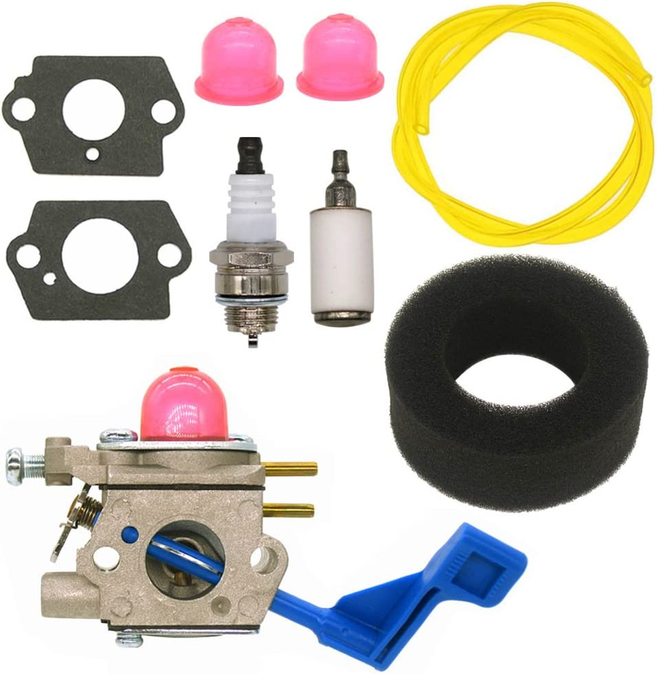 FitBest Carburetor with Fuel Line/Filter Spark Plug for Poulan Weed Eater GHT180 GHT180LE GHT220 GHT220LE Hedge Trimmer Zama C1U-W13A Replaces 530071633 530035306