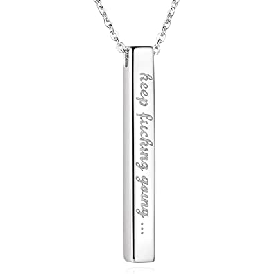 a77f1aa82443b0 Billie Bijoux Women Men Inspirational Necklace 925 Sterling Silver White  Gold Plated Engraved Bar Pendant Jewelry