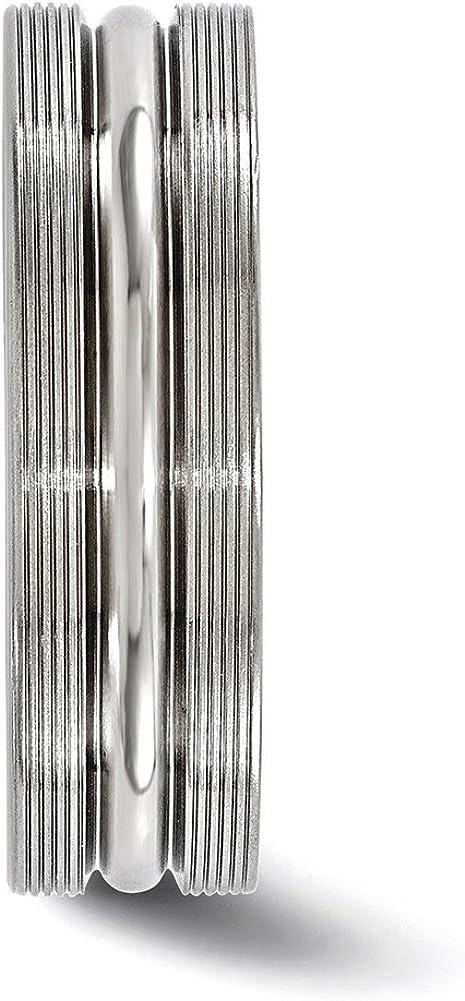 Edward Mirell Titanium Brush/&Polished Textured Lines 7mm Band
