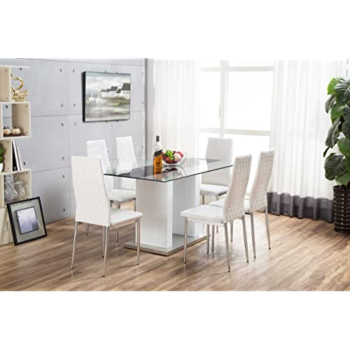Furniturebox UK FLORENCE High Gloss White Glass Dining Table Set And 6 Faux  Leather Chairs Seats