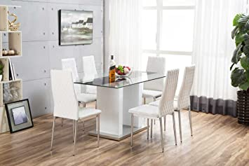 florence high gloss white glass dining table set and 6 faux leather chairs seats - White Glass Dining Table