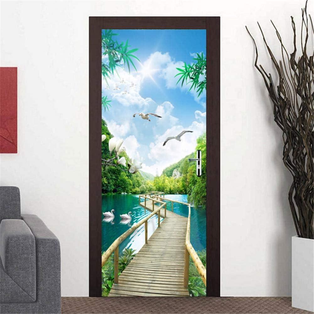3D Wall Art Landscape Creative Door Sticker PVC Decal Self-adhesive Wrap Mural