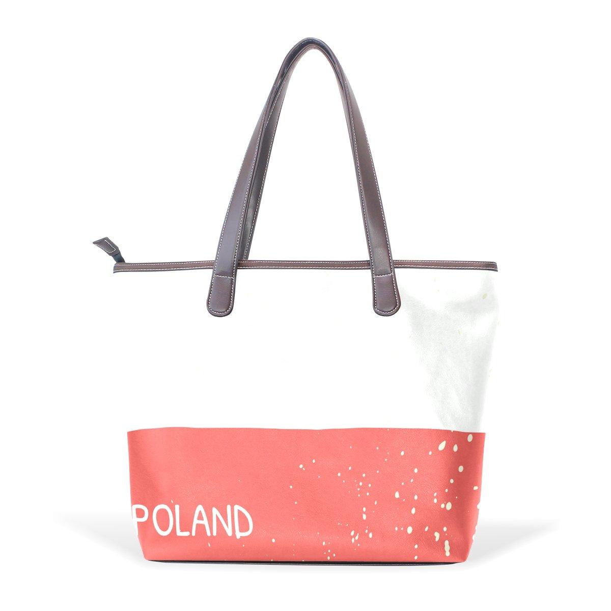 Distressed Poland Flag Womens Fashion Large Shoulder Bag Handbag Tote Purse for Lady