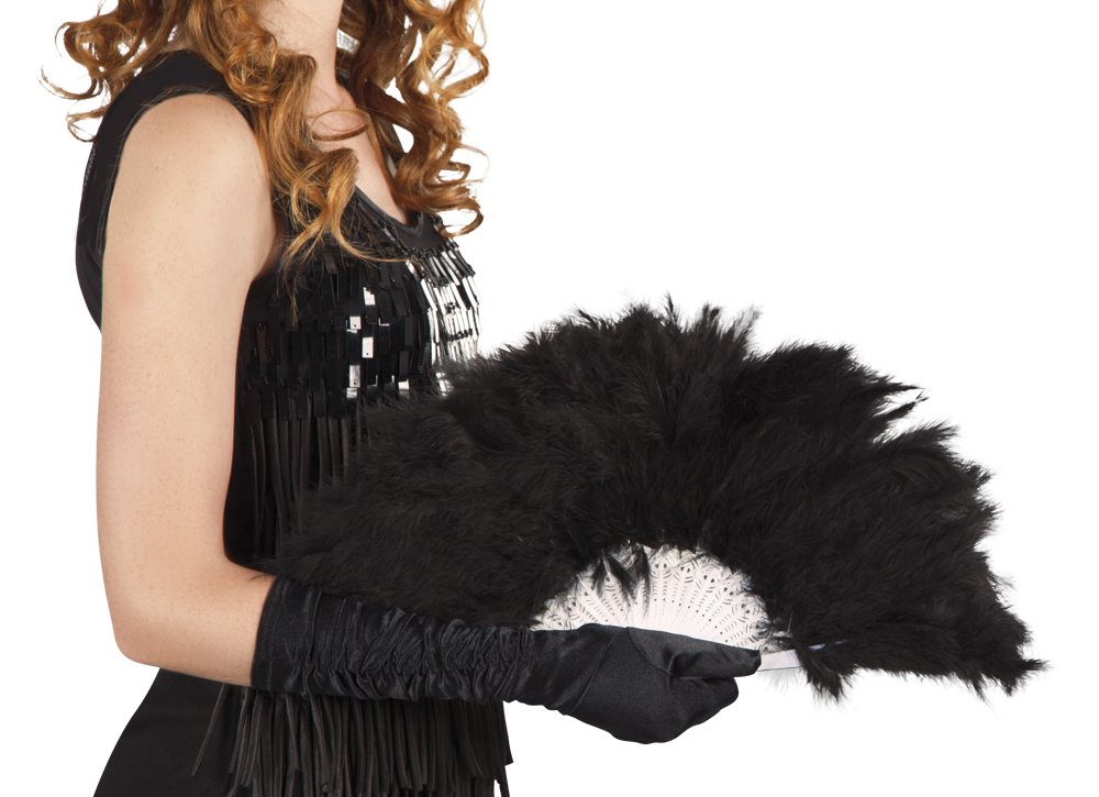 Abanico negro de plumas 21 palas Generique