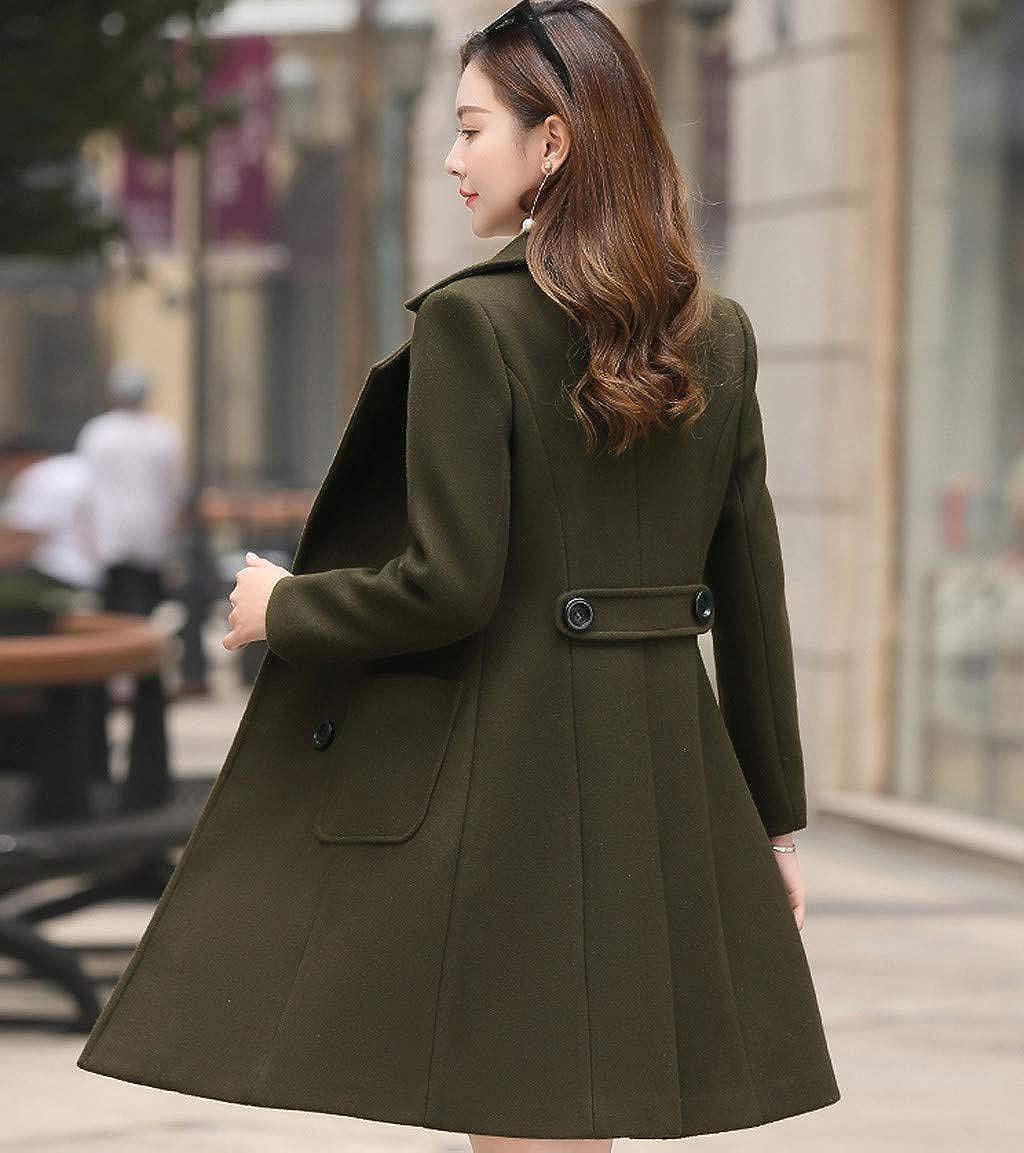 Toaimy Women Wool Double Breasted Coat Elegant Long Sleeve Work Office Fashion Jacket