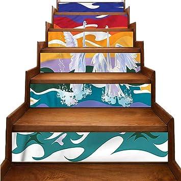 Outstanding Amazon Com Auraisehome Swan Stair Decals Happy Swan Couple Creativecarmelina Interior Chair Design Creativecarmelinacom