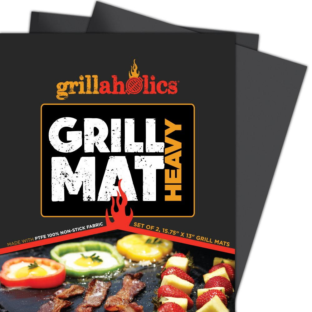 Grillaholics BBQ Grill Mat Heavy - 600 Degree Max Temperature Grilling Sheets - Set of 2 Grill Mats Non Stick - Lifetime Manufacturer Warranty by Grillaholics