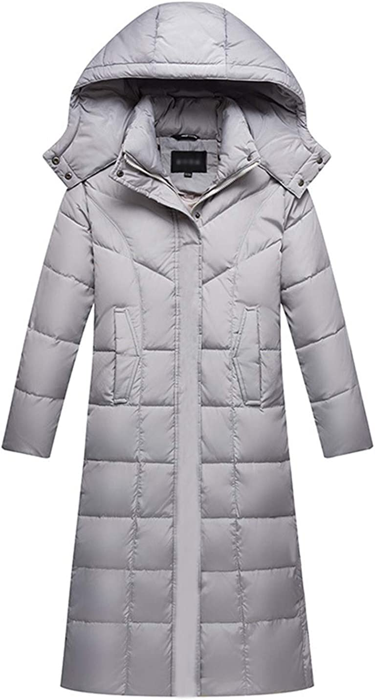 Gihuo Women's Hooded Maxi Down Coat Long Puffer Jacket