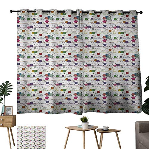- Ediyuneth Grommet Customized Curtains Colorful Knitting Balls Crochet Hand Crafts Stitch Yarn Hobby Theme Artsy Illustration Multicolor Grommet Top Curtains for Kids Room W84 xL72