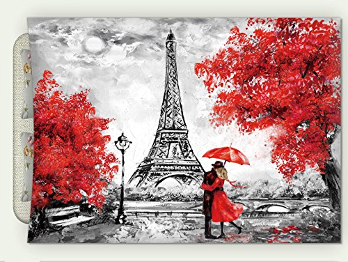 Minicoso Custom Flannel Throw Blanket Oil Painting Paris European City Landscape France Wallpaper Eiffel Tower Black White and Red Autumn Winter Warm HD Digitals Print Blanketry, 47