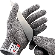 NoCry Cut Resistant Gloves - Ambidextrous, Food Grade, High Performance Level 5 Protection. Size Small, Compli