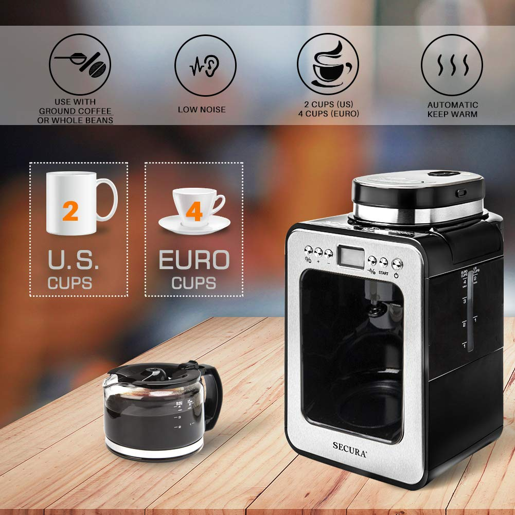 Secura Automatic Coffee Maker with Grinder, Programmable Grind and Brew Coffee Machine for use with Ground or Whole Beans, 1-4 Cups, Black