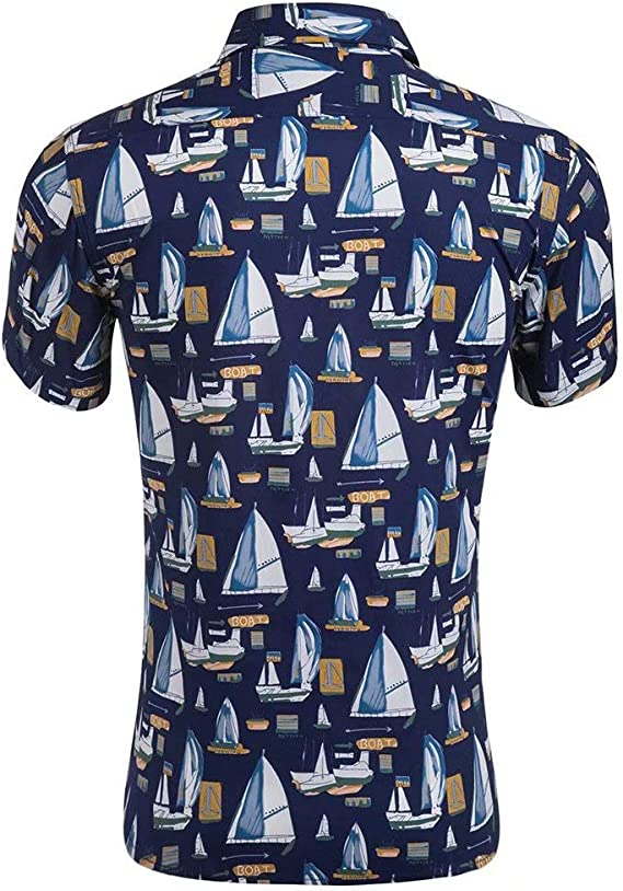 XI PENG Camisa hawaiana de manga corta con botones de ...