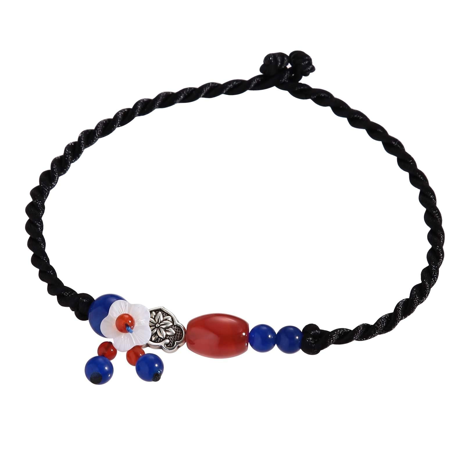 Beydodo Anklets with Colored Stones Foot Bracelet Colorful Braided Rope with Beads and Flower Charms