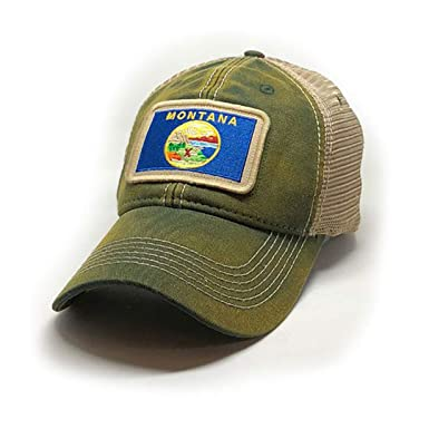 8e5f74ae Image Unavailable. Image not available for. Color: State Legacy Revival  Montana Flag Patch Trucker Hat ...