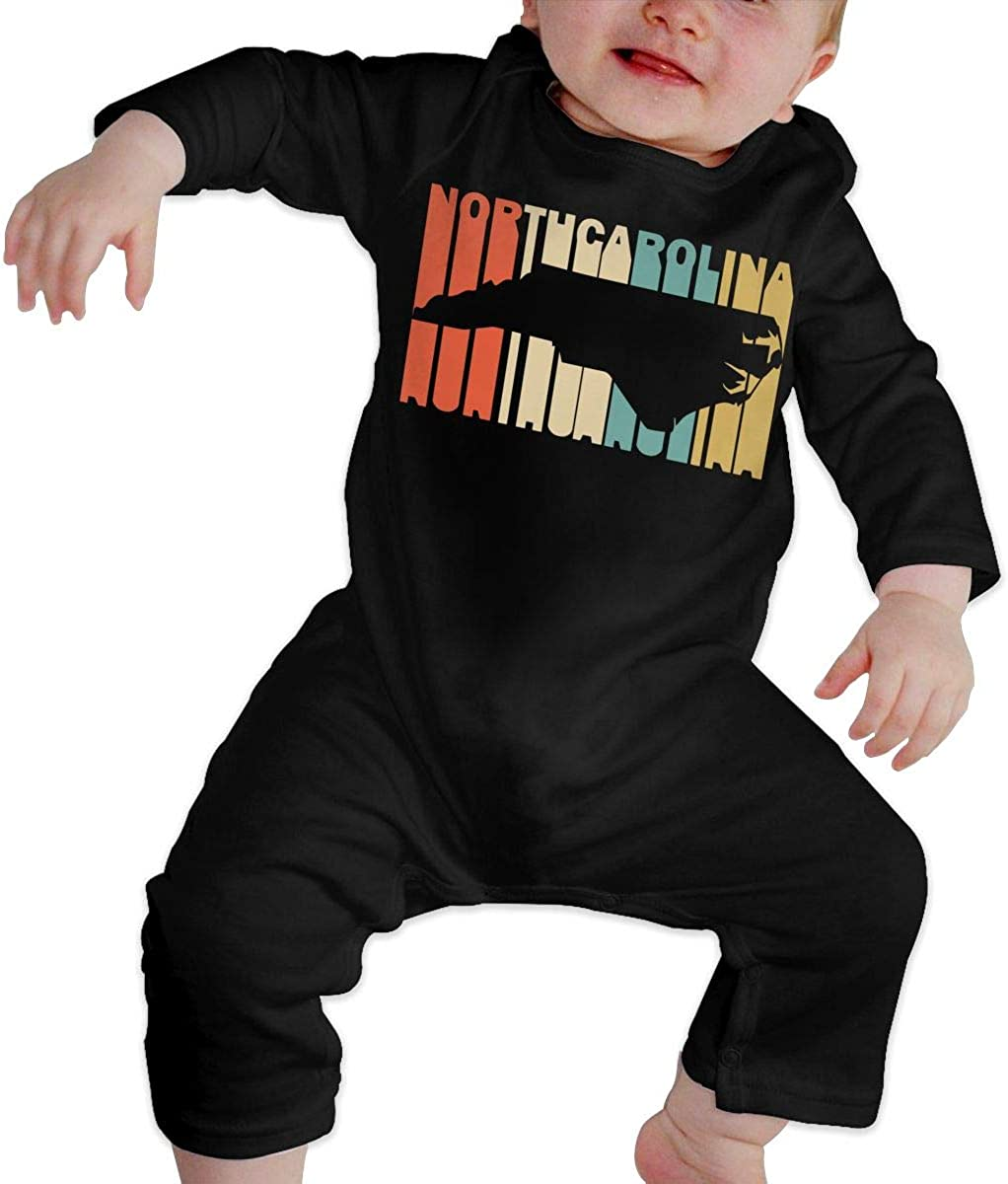 Retro Style North Carolina Silhouette Printed Baby Jumpsuit Long Sleeve Outfits Black