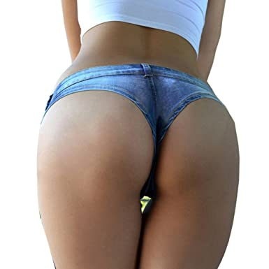 ed3da916e3 Yollmart Women s Sexy Denim Thong Cheeky Jeans Shorts at Amazon Women s  Clothing store
