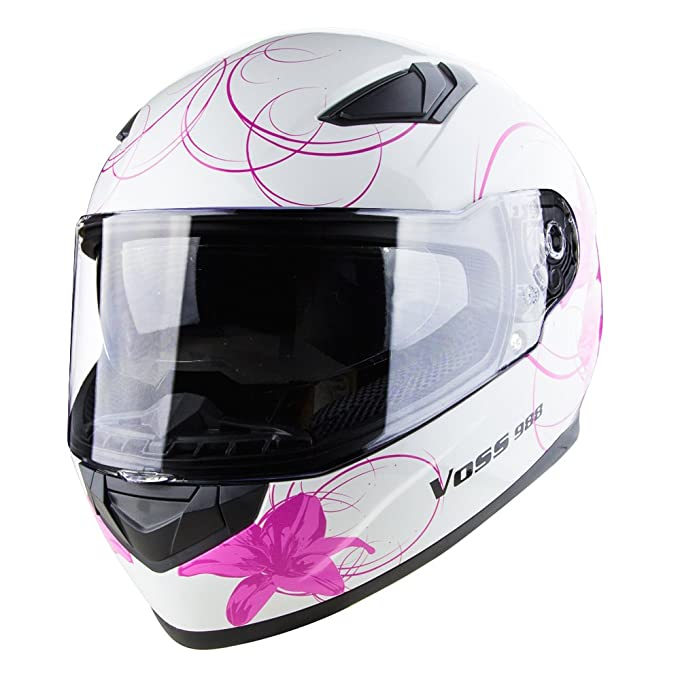 Amazon.com: Voss 988 Moto-1 Lily Graphic Street Full Face Helmet with Drop Down Internal Sun Lens - S - White/ Pink Lily: Automotive
