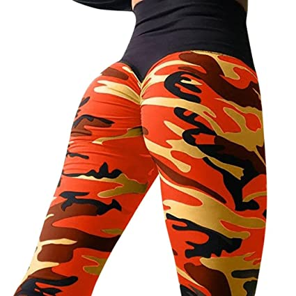 ae3fff4093836 ®GBSELL Fashion Women Camouflage Wrinkle Booty High Waist Workout Sports  Leggings (Orange, S