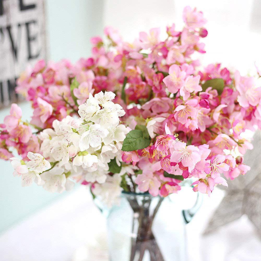 Riou Fleur de Cerisier Artificielle Fausse Fleur Plantes Artificielles Bouquet de Fleurs pour Mariage Bureau H/ôtel Home Jardin Party D/écorations F/ête des M/ères