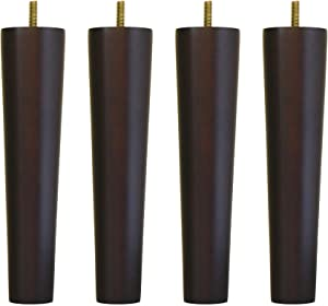 """WEICHUAN Round Solid Wood Dark Walnut Finish Replacement Sofa Couch Chair Ottoman Loveseat Coffee Table Cabinet Furniture Wood Legs Wood Furniture Legs(10"""" Set of 4)"""