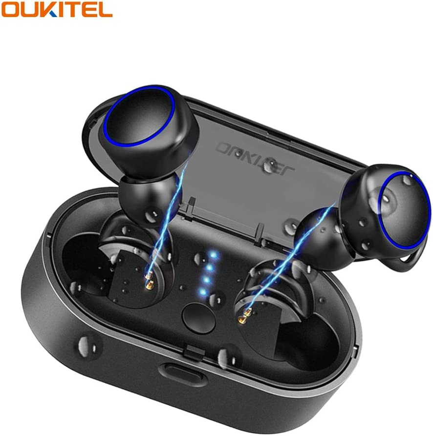 Wireless Earbuds Bluetooth 5.0,OUKITEL 02 True Wireless in-Ear Earbuds Stereo 3D Sound with CVC Noise Cancelling Headphones, Stable Connection Auto Paring with Charging Case, Built-in Microphone