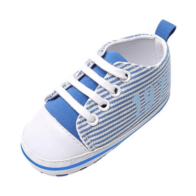 YanHoo Bebé Lienzo Correas niño niño Zapatos Zapatos de Cuna sólidos de Lona para bebés pequeños para niños pequeños Suela Suave Antideslizante Zapatos ...
