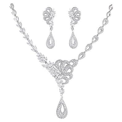 Buy Shaze Jewellery Set for Women (Silver) (Half Flower Set 674) at Amazon.in