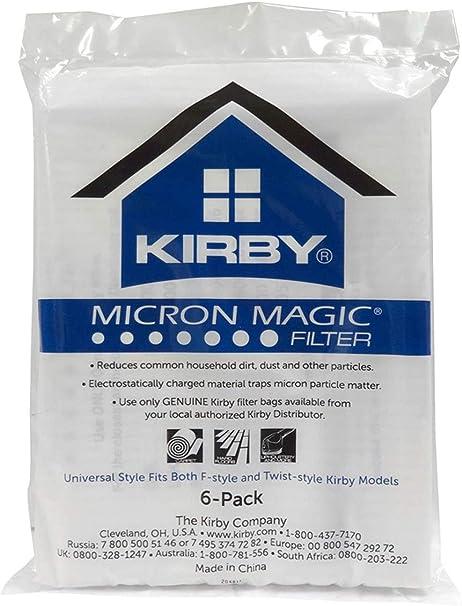 6 Genuine Kirby F Style Micron Magic HEPA Filtration 204808 Bag Pack