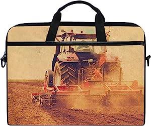 "Laptop Bag Farmer in Tractor Preparing Land for Sowing 14"" 15"" Laptop Case Notebook Briefcase Tablet Handbag Sleeve Computer Backpack for Men Women Travel Business School"