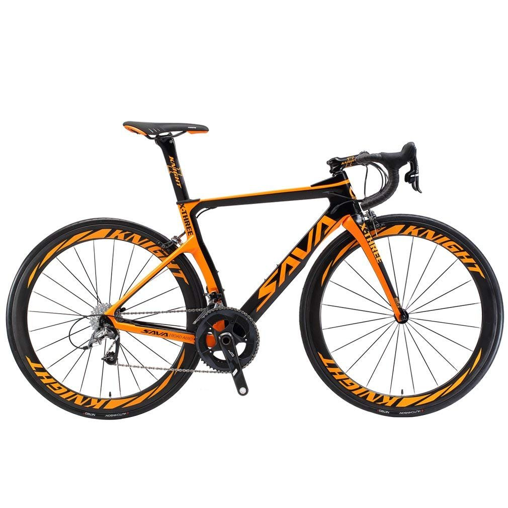 SAVADECK Phantom3.0 Carbon Road Bike 700C Carbon Fiber Racing Bike Full Carbon Bicycle with Shimano Ultegra R8000 22 Speed Groupset Continental Tires and Fizik Saddle