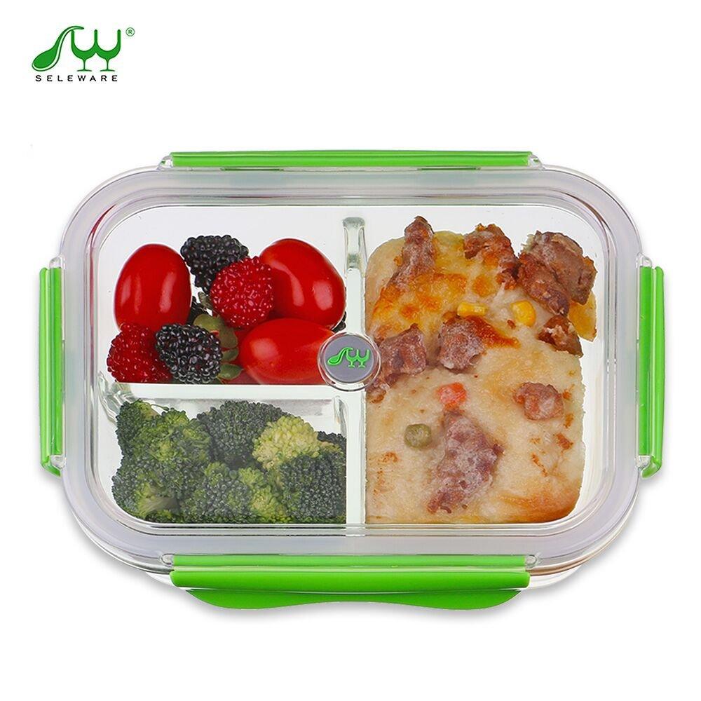 Vidrio Contenedor Alimentos Hermetico - Recipientes Comida Cristal Microondas - Fiambreras Bento con 3-compartimentos - tapers para comida almuerzo ...