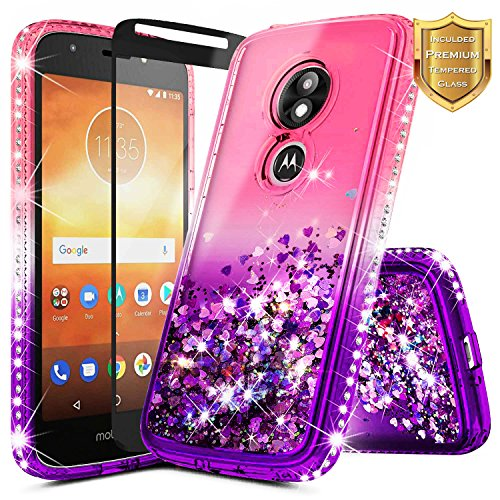 Moto E5 Play Case, Moto E5 Cruise/Motorola Moto E Play 5th Gen w/[Full Cover Tempered Glass Screen Protector], NageBee Glitter Liquid Quicksand Waterfall Sparkle Diamond Cute Case -Pink/Purple