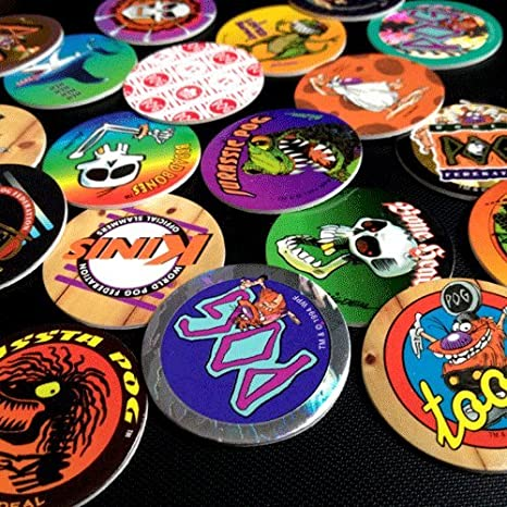 Assortment of colourful Pogs - BEST 90S TOYS