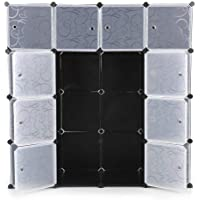 12/16 Cube Storage Organizer Wardrobe Modular Closet Plastic Cabinet, Cubby Shelving Storage Drawer Unit, DIY Modular Bookcase Closet System with Doors for Clothes Shoes Toys (16 Cube)