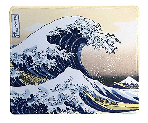 dealzEpic - Art Mouse Pad - Natural Rubber Mousepad Printed with Japan Art The Great Wave by Hokusai - Stitched Border - 9.5x7.9 inches